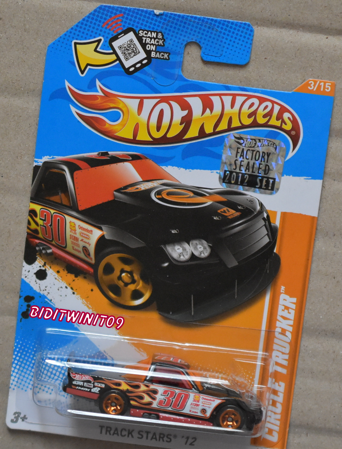 HOT WHEELS 2012 TRACK STARS CIRCLE TRUCKER BLACK FACTORY SEALED