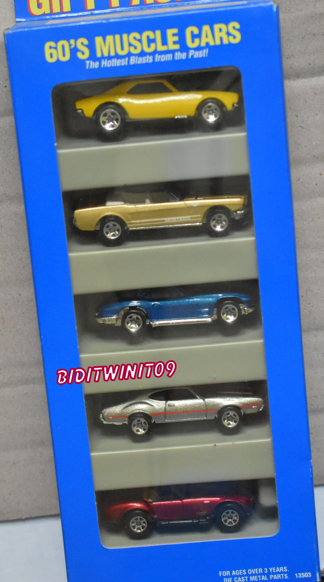 HOT WHEELS 5 CAR PACK 60'S MUSCLE CARS '67 CAMARO '65 MUSTANG CORVETTE SHELBY E+
