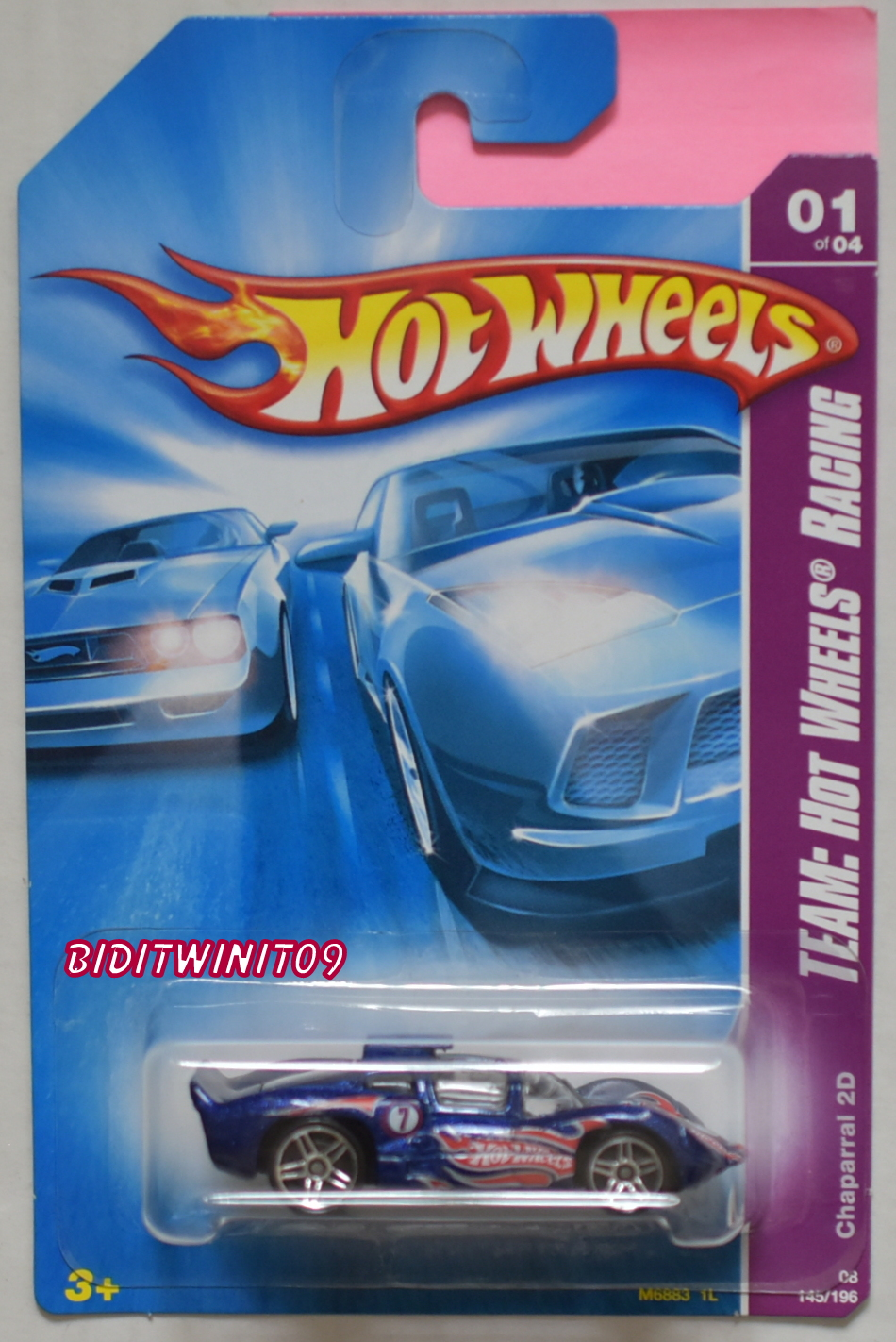 HOT WHEELS 2008 TEAM: HW RACING CHAPARRAL 2D BLUE PR5 WHEELS E+