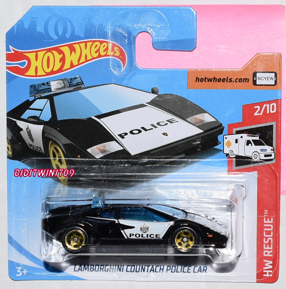 HOT WHEELS CASE G 2019 HW RESCUE LAMBORGHINI COUNTACH POLICE CAR SHORT CARD