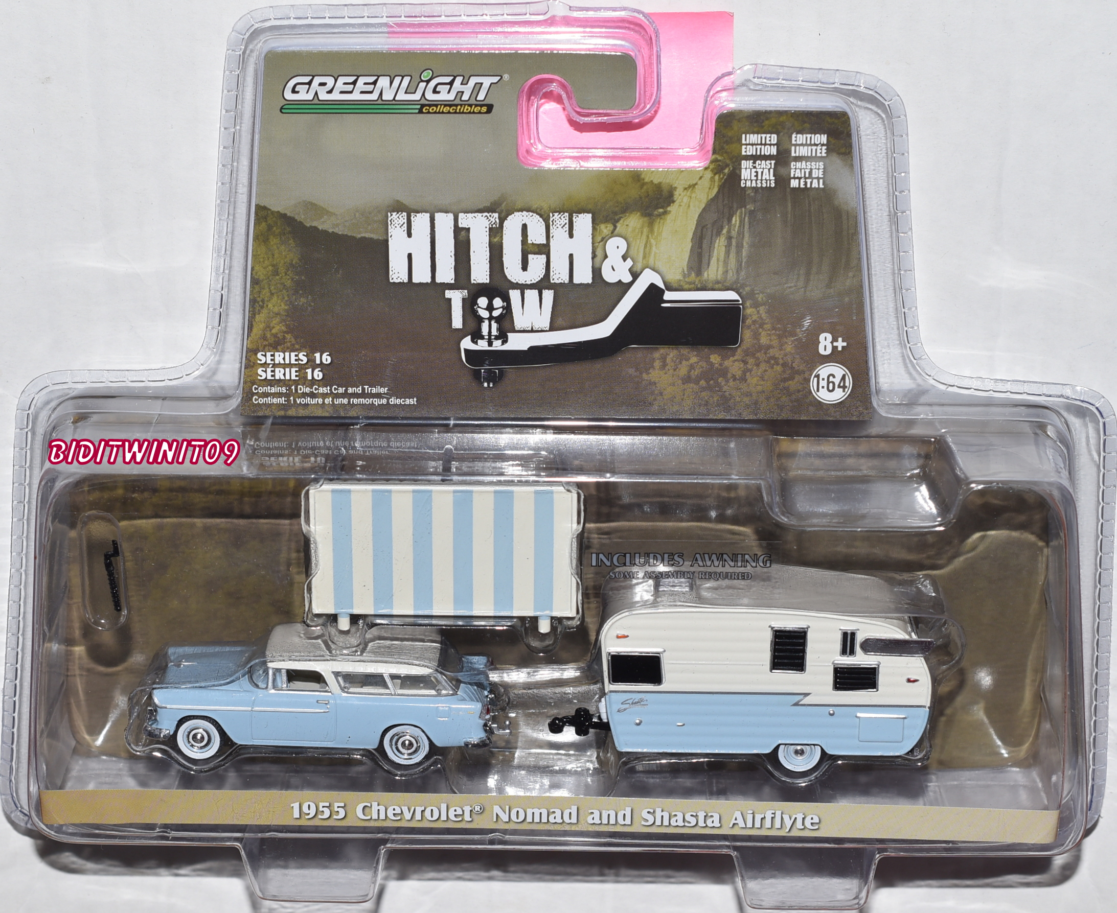 GREENLIGHT HITCH & TOW 1955 CHEVROLET NOMAD AND SHASTA AIRFLYTE SERIES 16