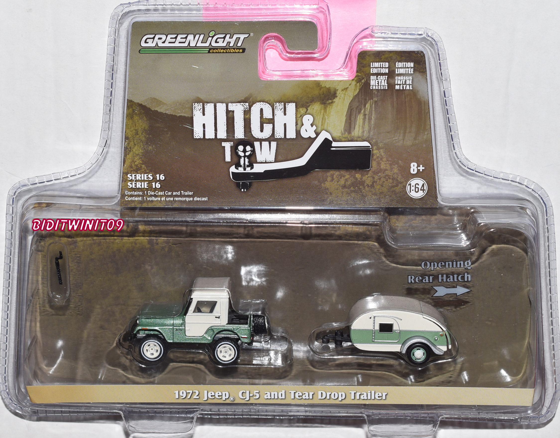 GREENLIGHT HITCH & TOW 1972 JEEP CJ-5 HALF-CAB AND TEARD ROP TRAILER E+