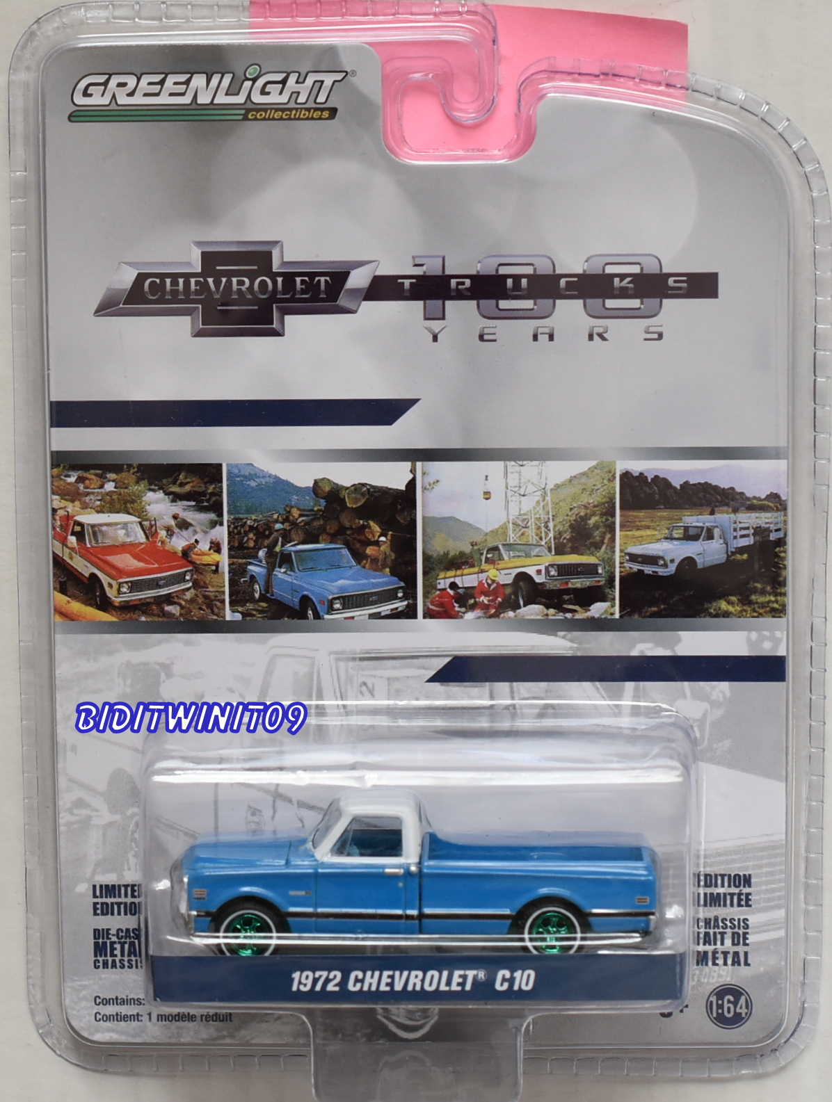 GREENLIGHT 100 YEARS TRUCK 1972 CHEVROLET C10 GREEN MACHINE E+