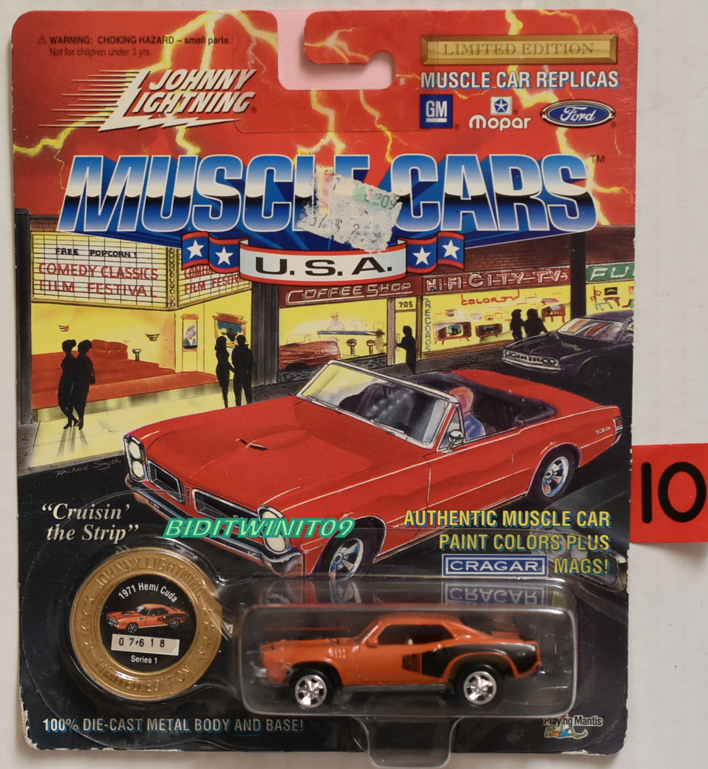 1994 JOHNNY LIGHTNING MUSCLE CARS 1971 HEMI CUDA SERIES 1 ORANGE