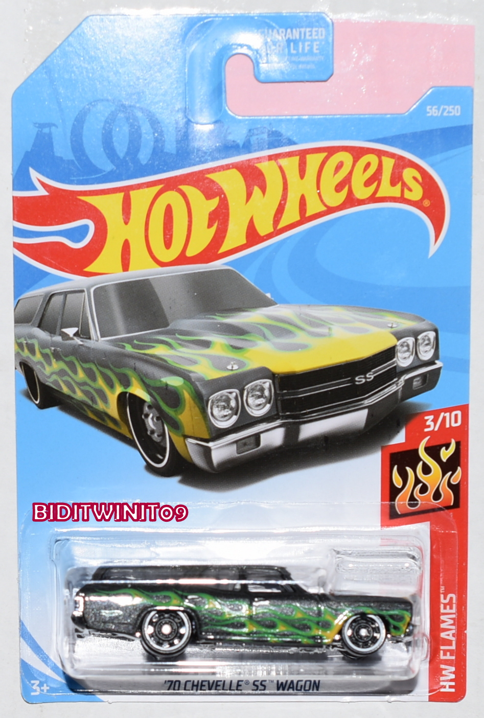 HOT WHEELS 2019 HW FLAMES '70 CHEVELLE SS WAGON BLACK E+