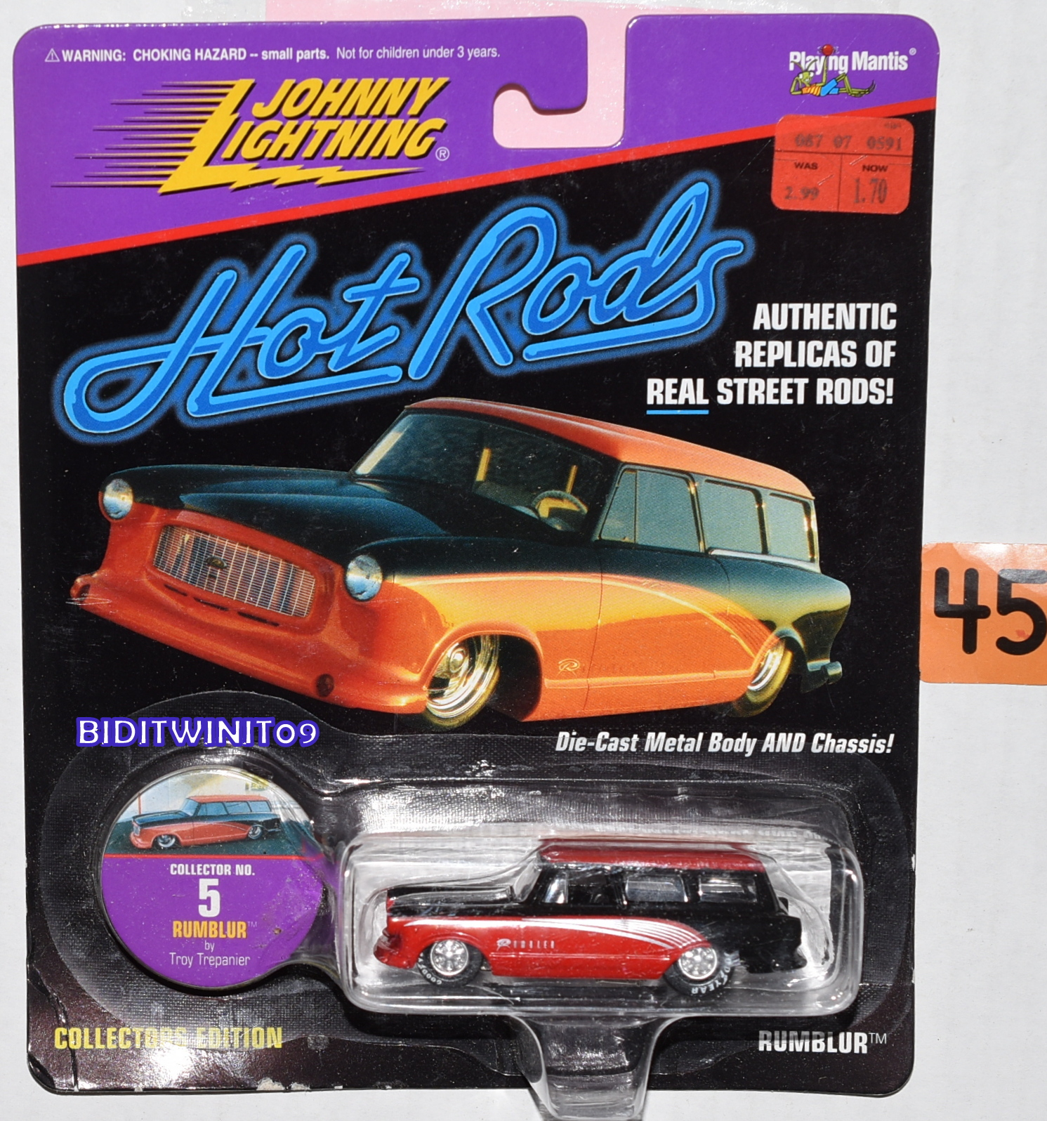 JOHNNY LIGHTNING HOT RODS RUMBLUR BY TROY TREPANIER #5 RED E+