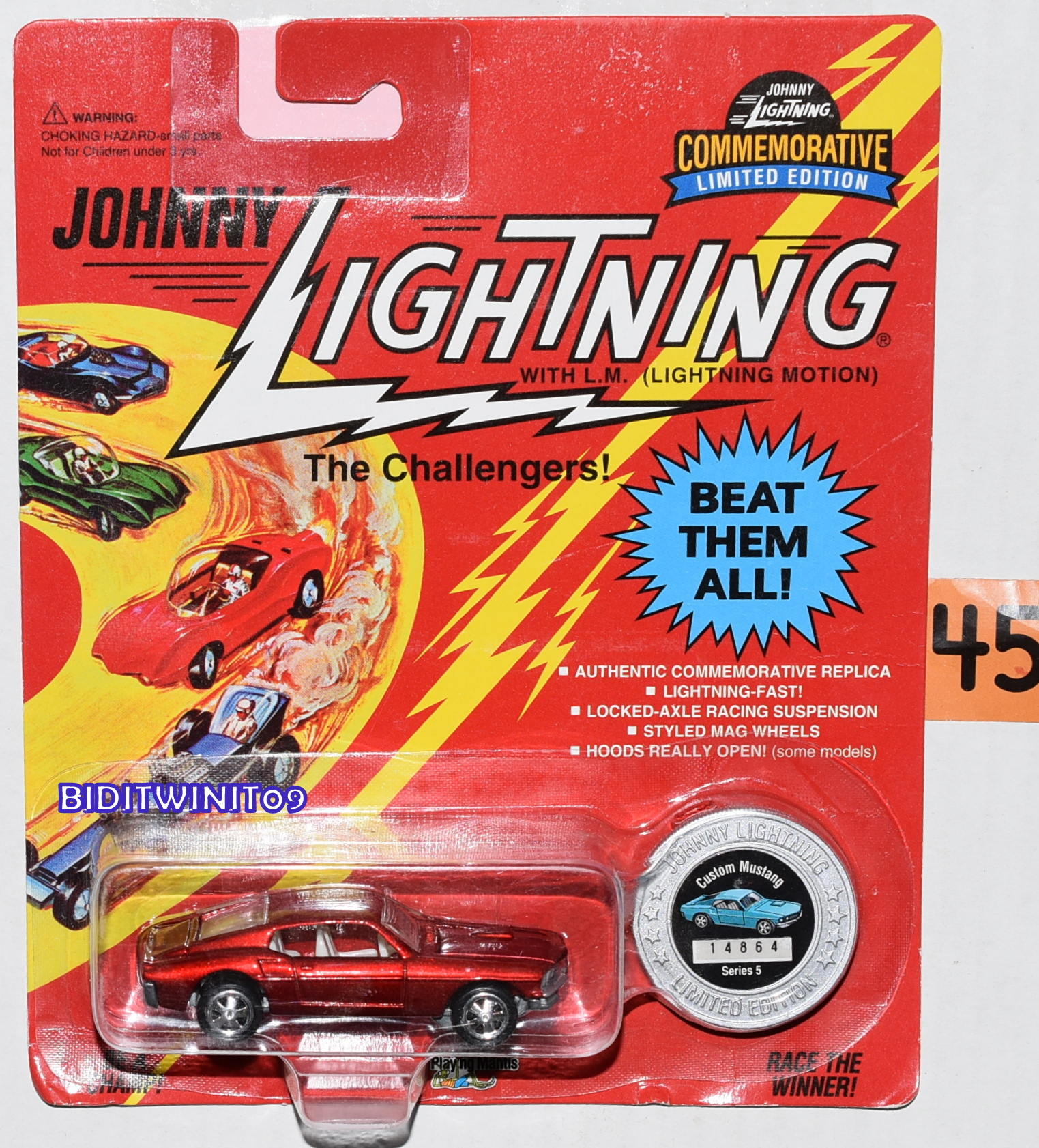 JOHNNY LIGHTNING COMMEMORATIVE CUSTOM MUSTANG SERIES 5 RED E+