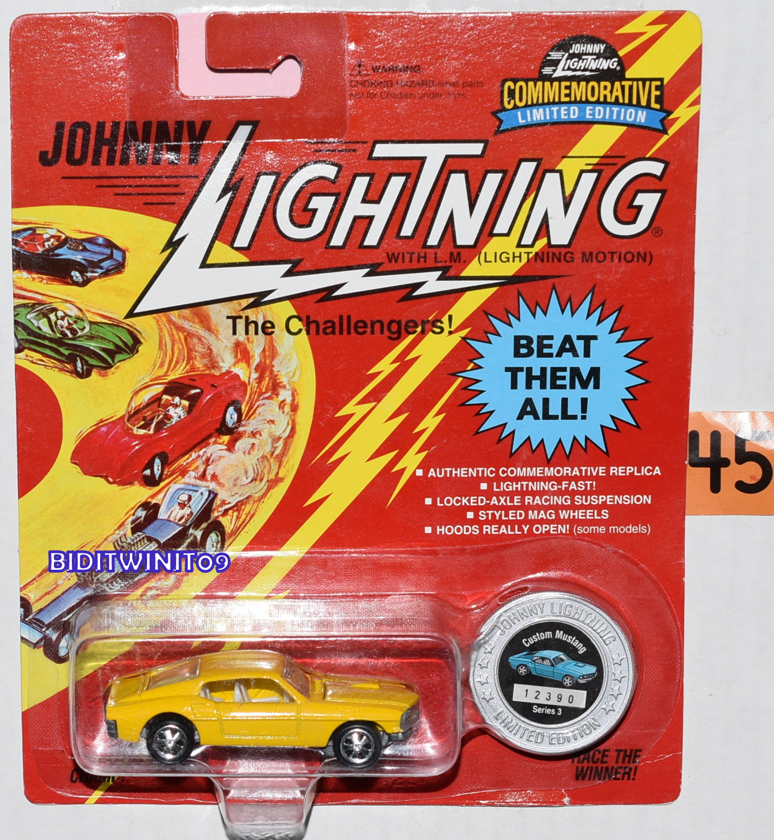JOHNNY LIGHTNING COMMEMORATIVE CUSTOM MUSTANG SERIES 3 LIMITED EDITION YELLOW E+