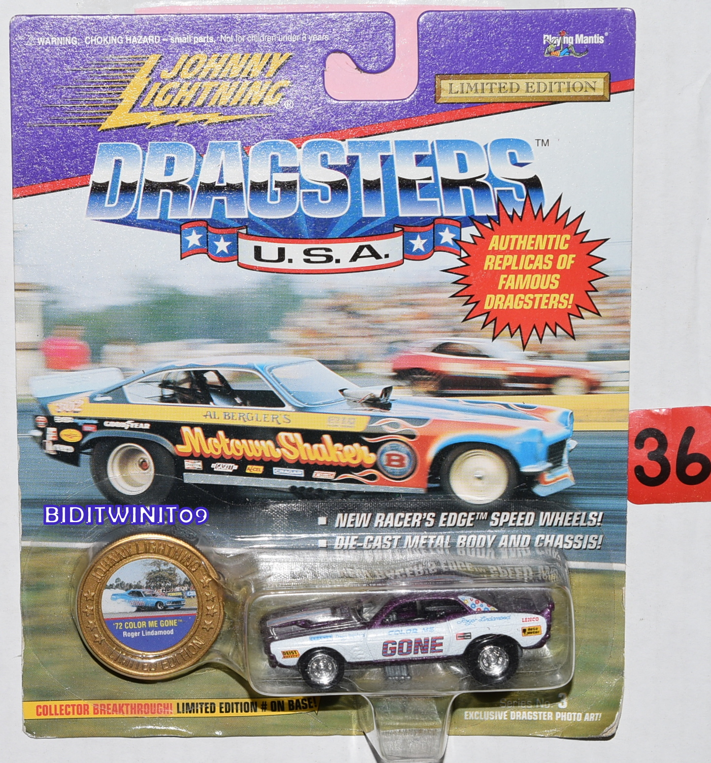 JOHNNY LIGHTNING DRAGSTERS U.S.A. '72 COLOR ME GONE LIMITED EDITION E+