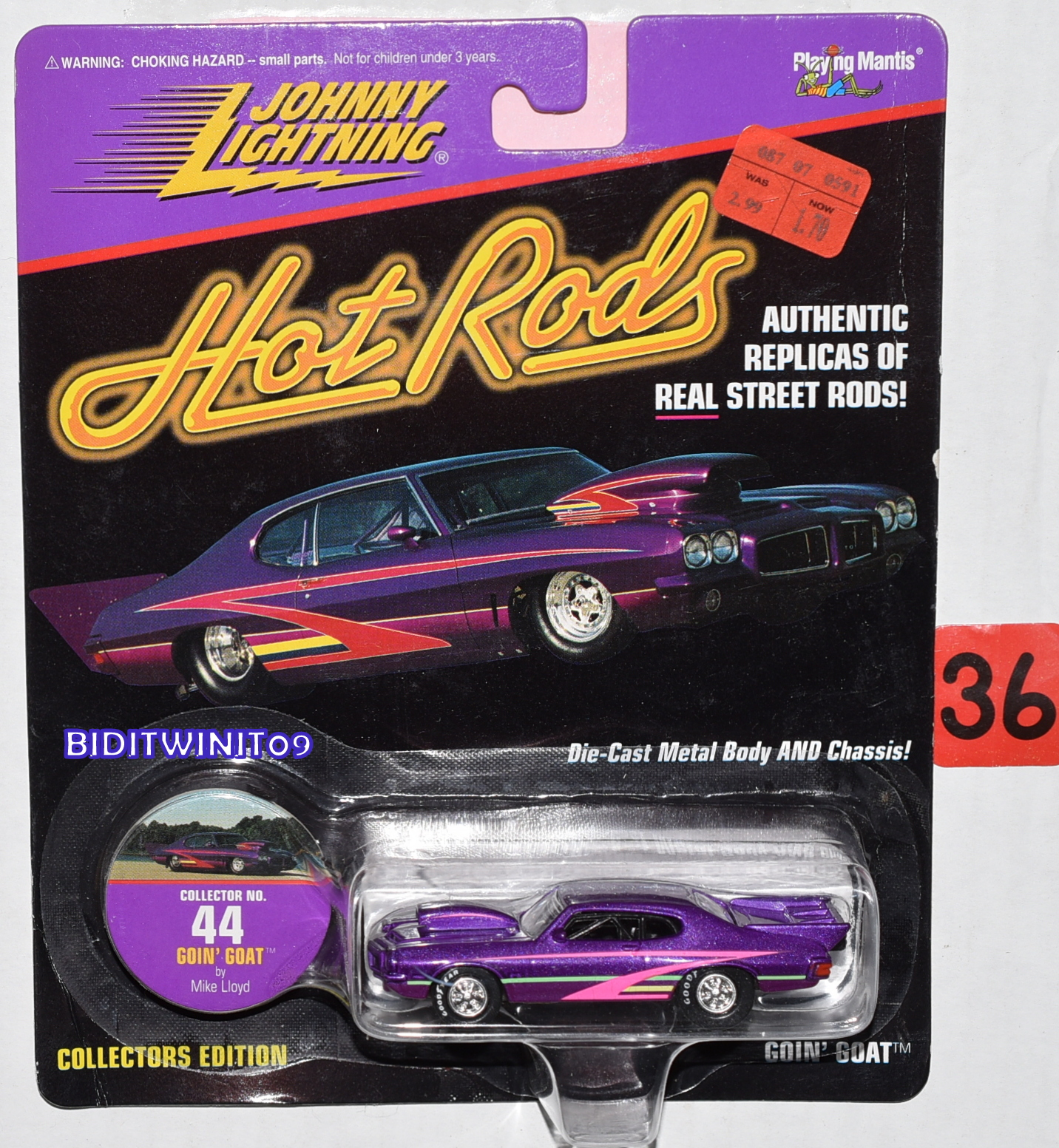 JOHNNY LIGHTNING 1997 HOT RODS GOIN' GOAT #44 PURPLE E+