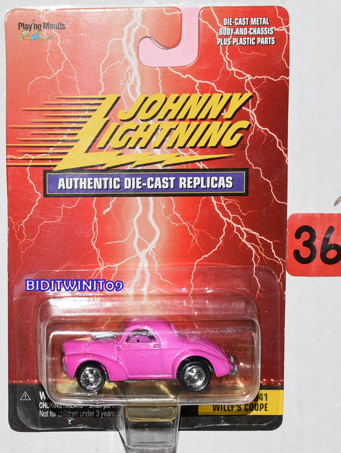 JOHNNY LIGHTNING AUTHENTIC DIE CAST REPLICAS 1941 WILLY'S COUPE PINK
