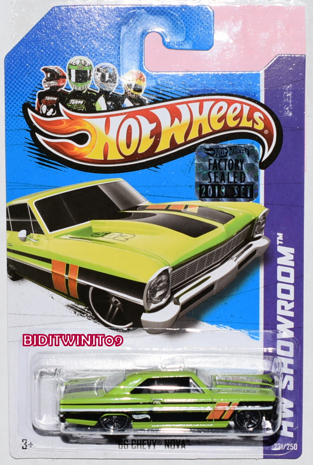 HOT WHEELS 2013 HW SHOWROOM '66 CHEVY NOVA GREEN FACTORY SEALED