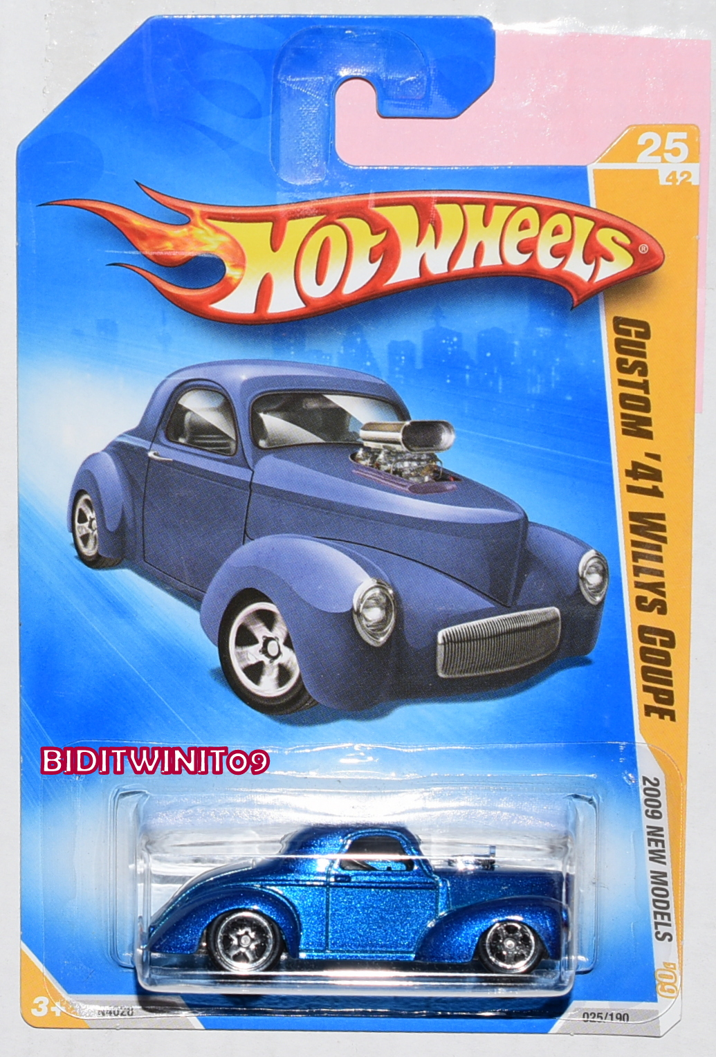 HOT WHEELS 2009 NEW MODELS CUSTOM '41 WILLYS COUPE BLUE E+