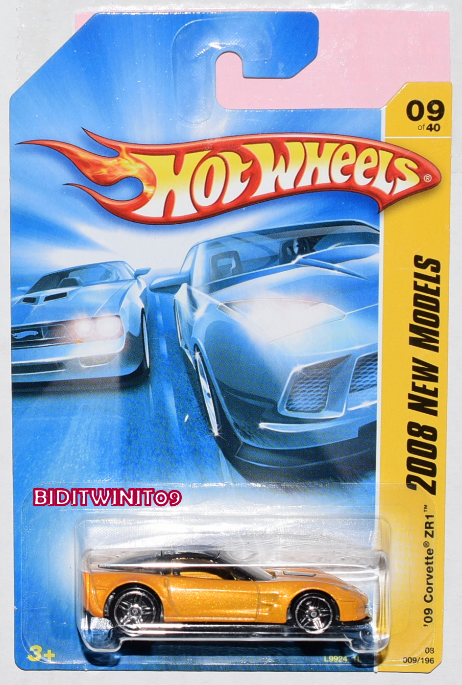 HOT WHEELS 2008 NEW MODELS '09 CORVETTE ZR1 #09/40 YELLOW E+