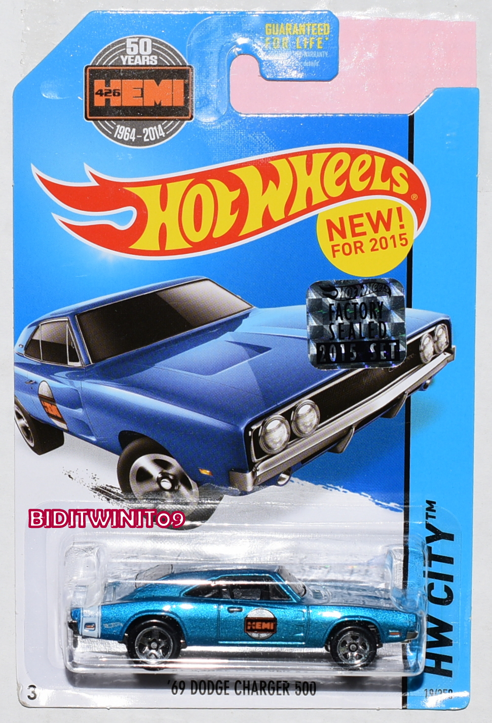 HOT WHEELS 2015 HW CITY '69 DODGE CHARGER 500 BLUE FACTORY SEALED