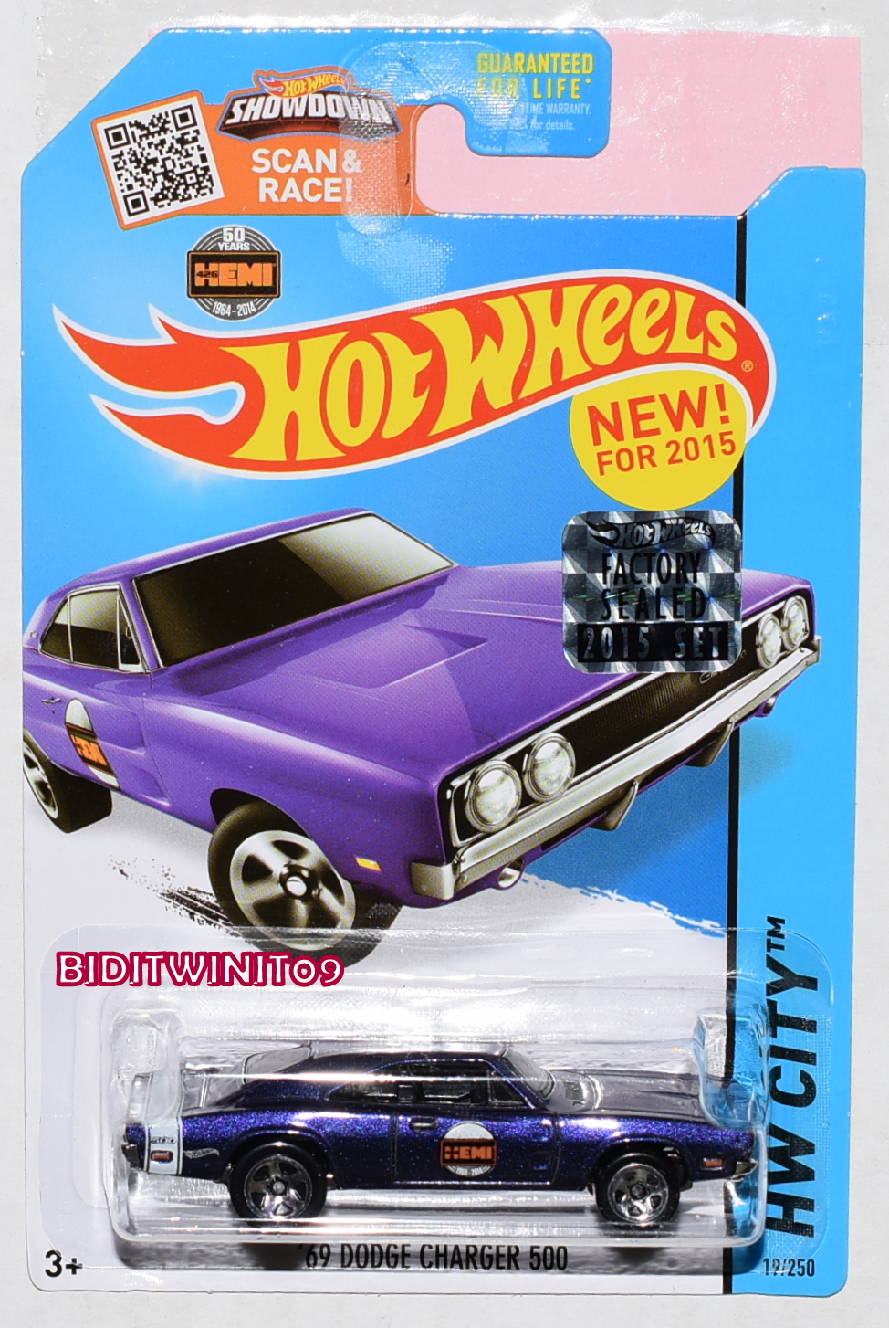 HOT WHEELS 2015 HW CITY '69 DODGE CHARGER 500 #19/250 FACTORY SEALED