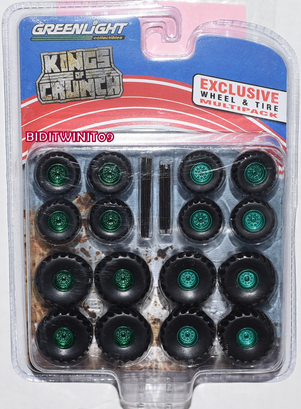 GREENLIGHT KINGS OF CRUNCH WHEEL & TIRE PACK - 16 WHEELS, 16 TIRES GREEN MACHINE