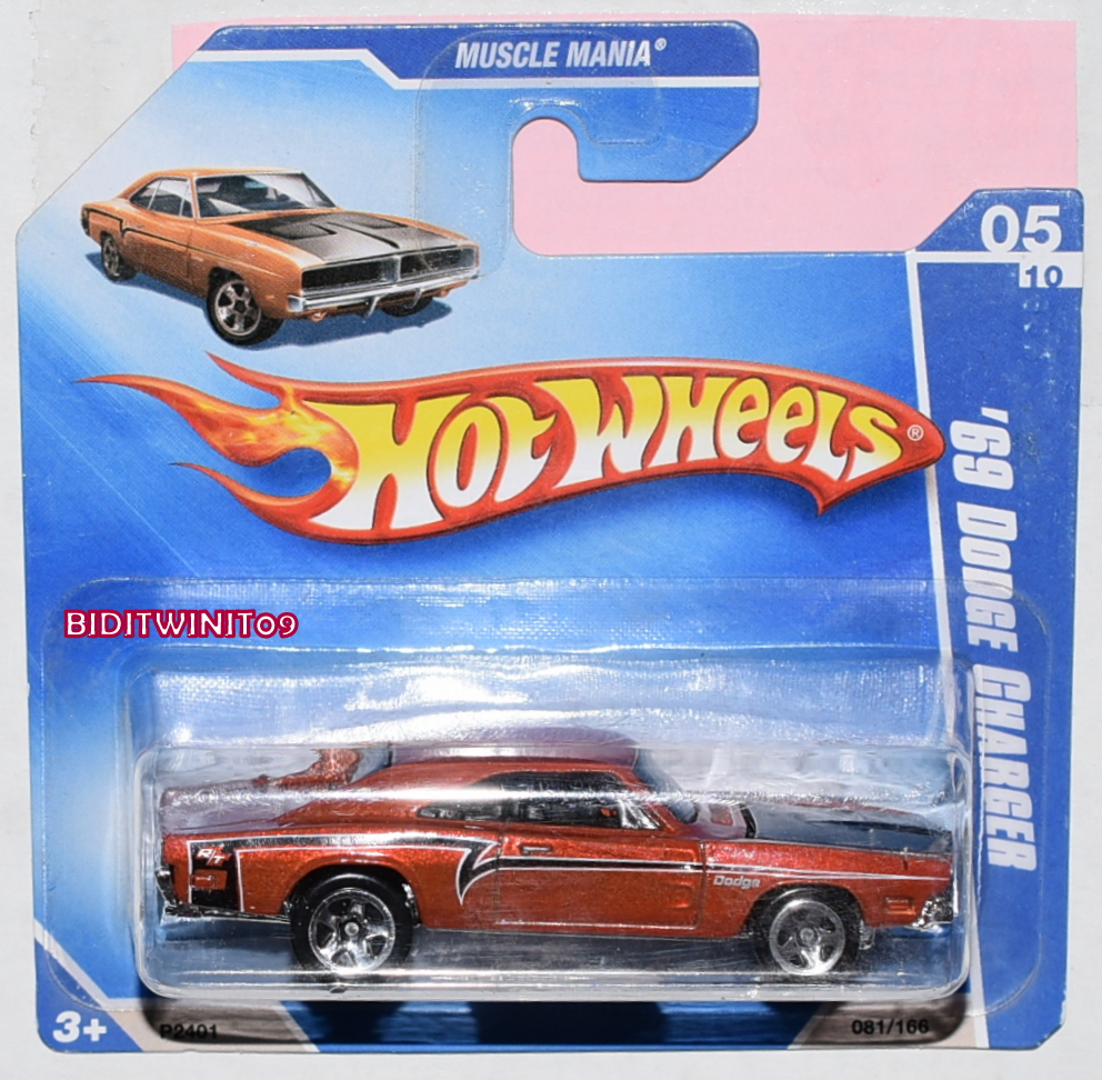 HOT WHEELS 2009 MUSCLE MANIA '69 DODGE CHARGER #05/10 ORANGE SHORT CARD E+