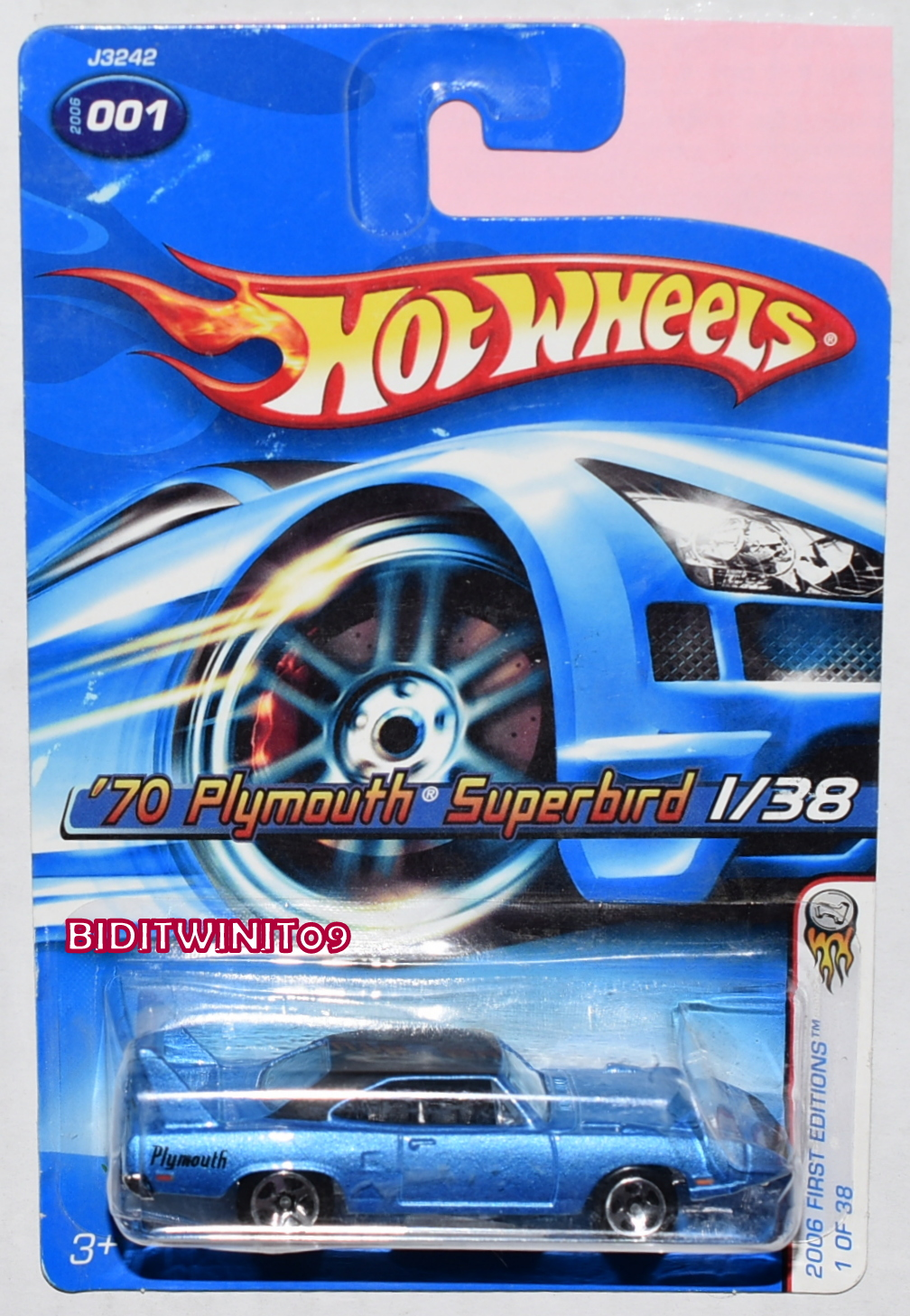 HOT WHEELS 2006 FIRST EDITIONS '70 PLYMOUTH SUPERBIRD BLUE W/ 5 SP WHEELS E+