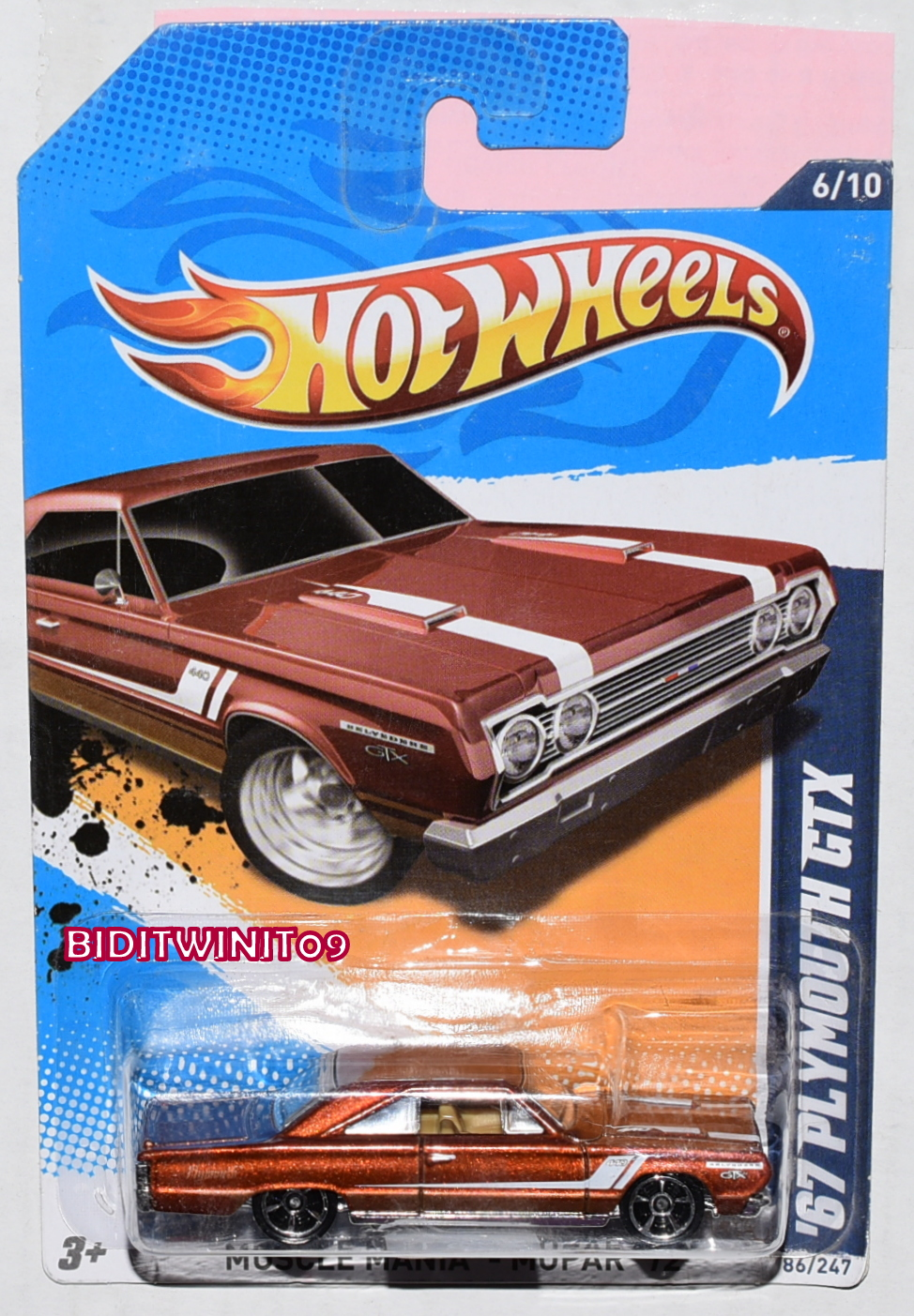 HOT WHEELS 2012 MUSCLE MANIA - MOPAR '67 PLYMOUTH GTX BRONZE