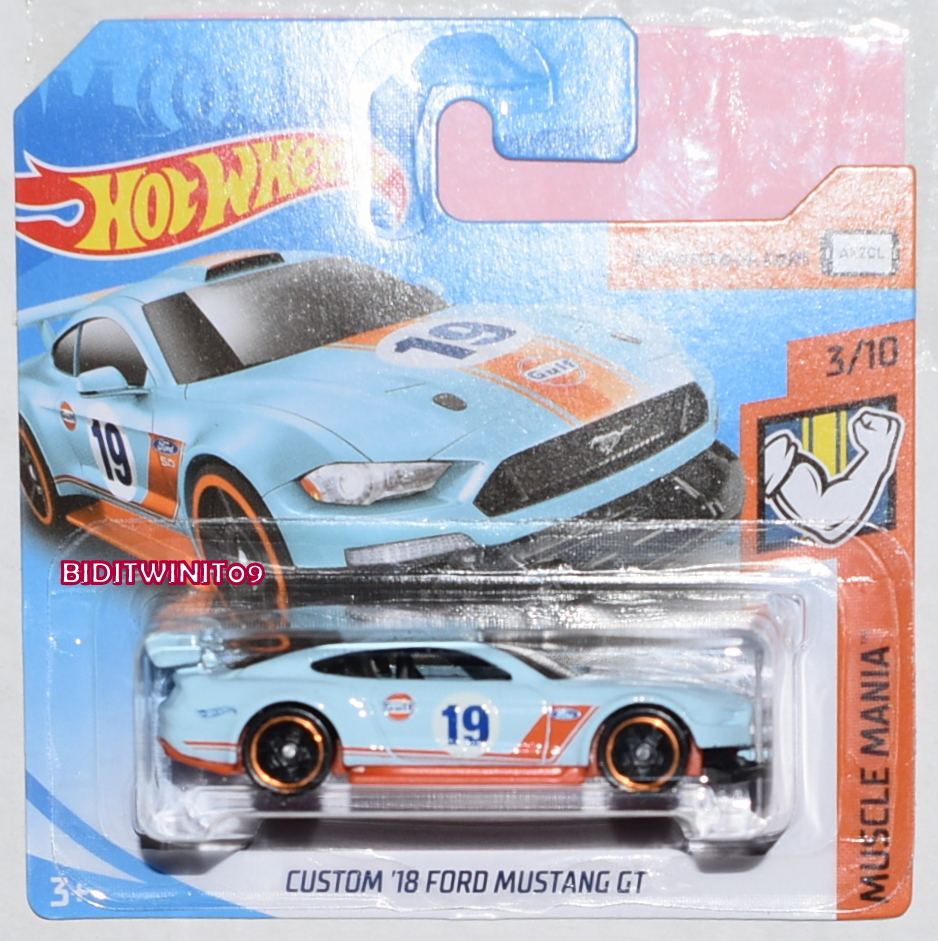HOT WHEELS CASE J 2019 MUSCLE MANIA CUSTOM '18 FORD MUSTANG GT GULF SHORT CARD