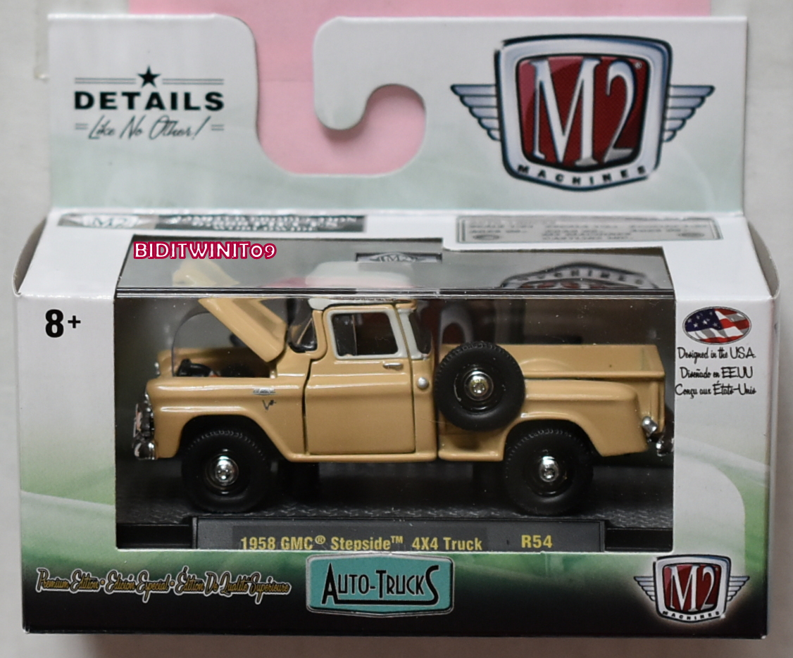M2 MACHINES 2019 AUTO-TRUCKS 1958 GMC STEPSIDE 4X4 TRUCK R54
