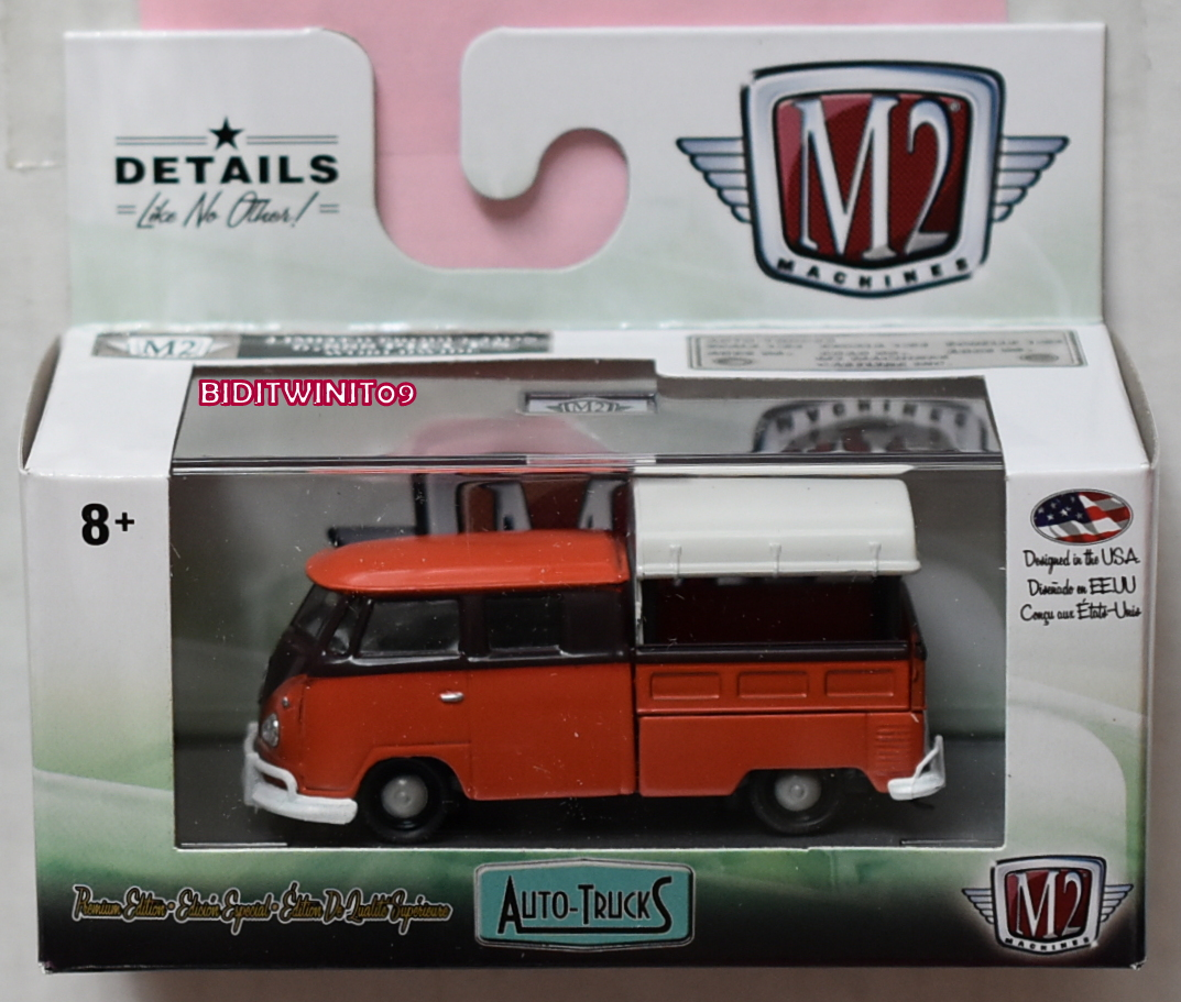 M2 MACHINES 2019 AUTO-TRUCKS 1960 VW DOUBLE CAB TRUCK USA MODEL R54 E+