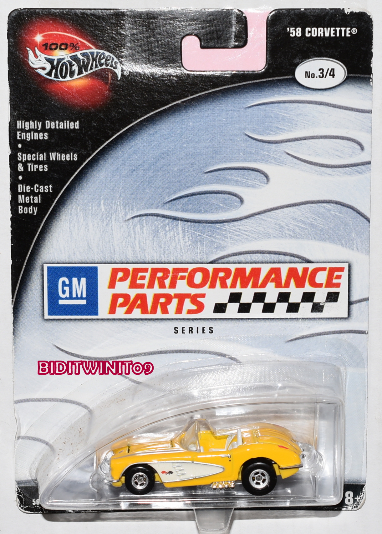 100% HOT WHEELS PERFORMANCE PARTS SERIES '58 CORVETTE #3/4 YELLOW