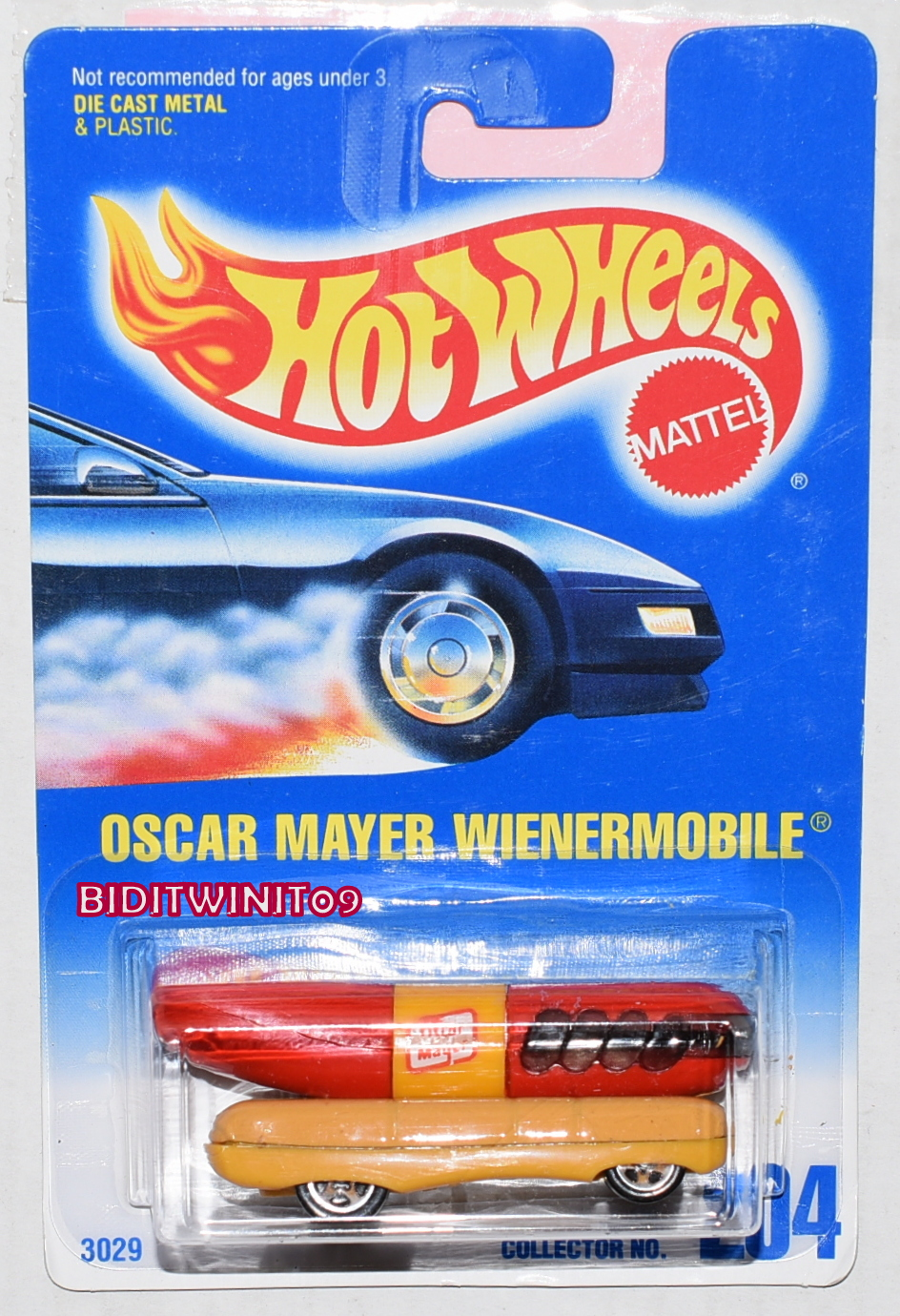 HOT WHEELS 1991 BLUE CARD OSCAR MAYER WIENERMOBILE #204 W/ 5 SP WHEELS E+