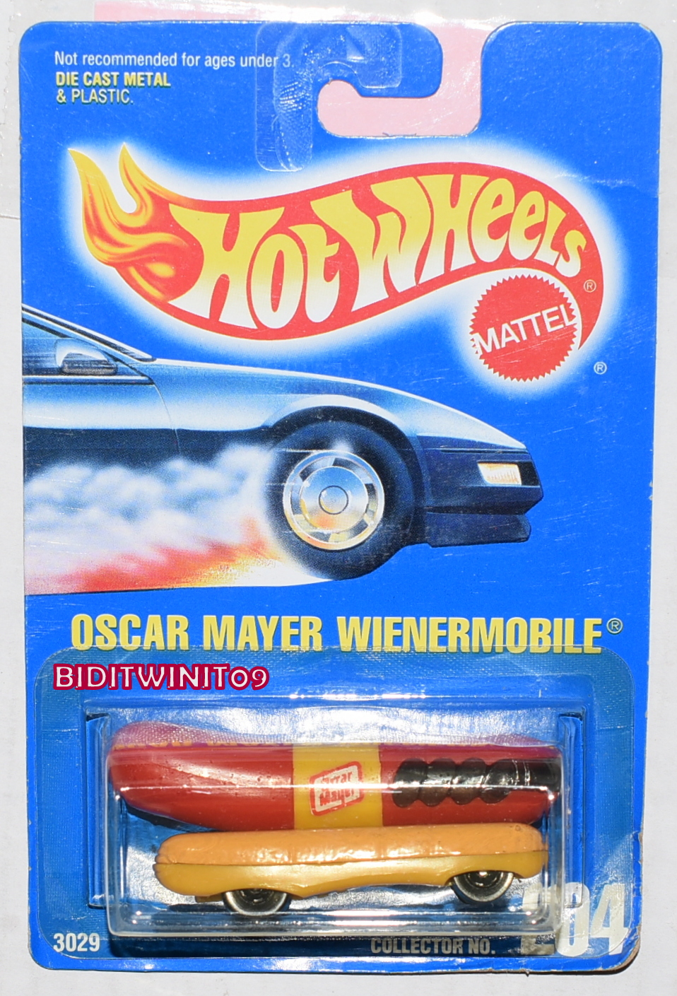 HOT WHEELS 1991 BLUE CARD OSCAR MAYER WIENERMOBILE #204 BLACK TIRES E+