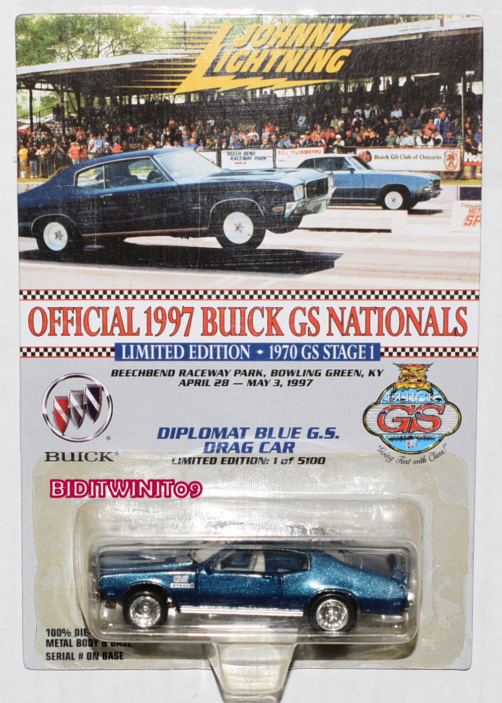 JOHNNY LIGHTNING 1970 STAGE 1 OFFICIAL 1997 BUICK GS NATIONALS E+