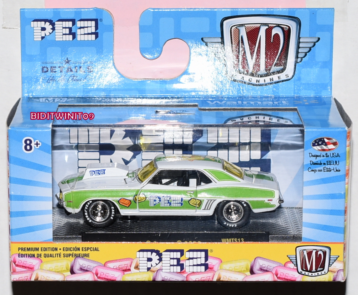 M2 MACHINE 2019 WALMART EXCLUSIVE PEZ 1969 CHEVROLET COPO CAMARO WMTS13 E+
