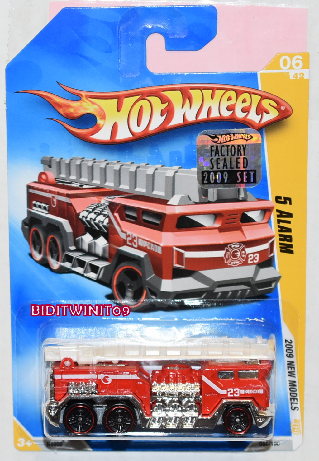 HOT WHEELS 2009 NEW MODELS 5 ALARM #06/42 RED FACTORY SEALED