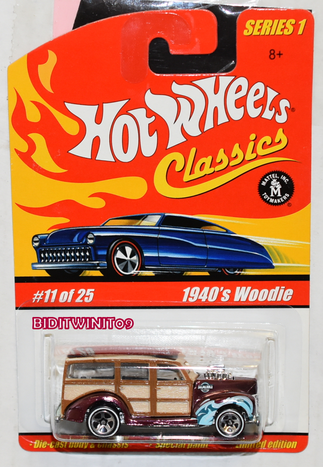 HOT WHEELS CLASSICS SERIES 1 #11/25 1940's WOODIE BROWN E+