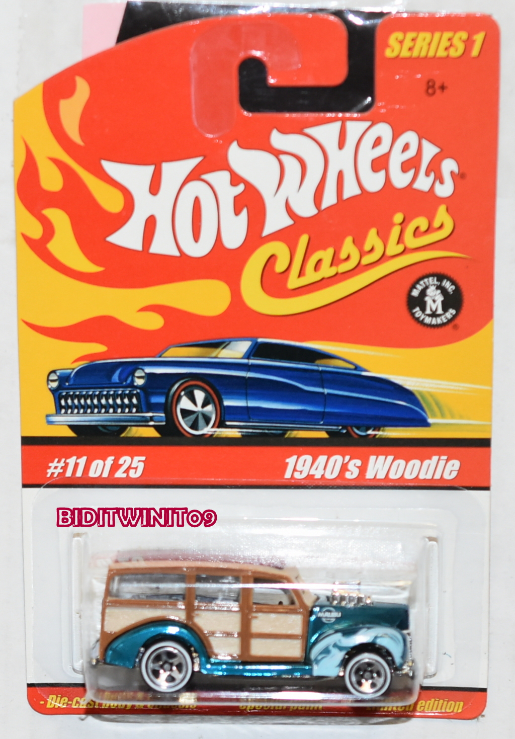 HOT WHEELS CLASSICS SERIES 1 #11/25 1940's WOODIE TURQUOISE E+