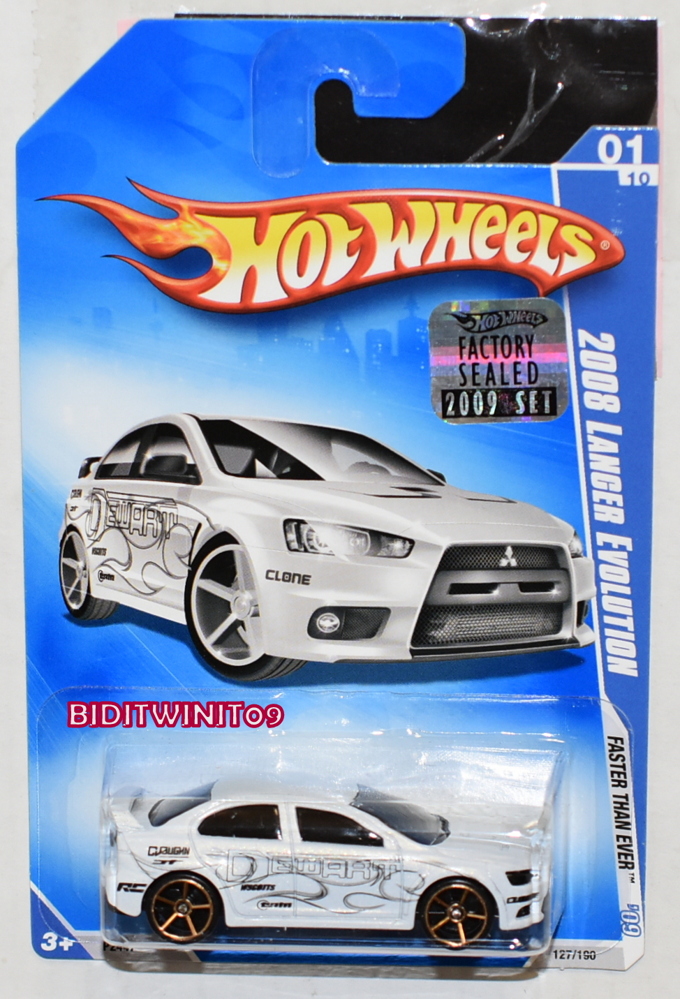HOT WHEELS 2009 FASTER THAN EVER 2008 LANCER EVOLUTION WHITE FACTORY SEALED