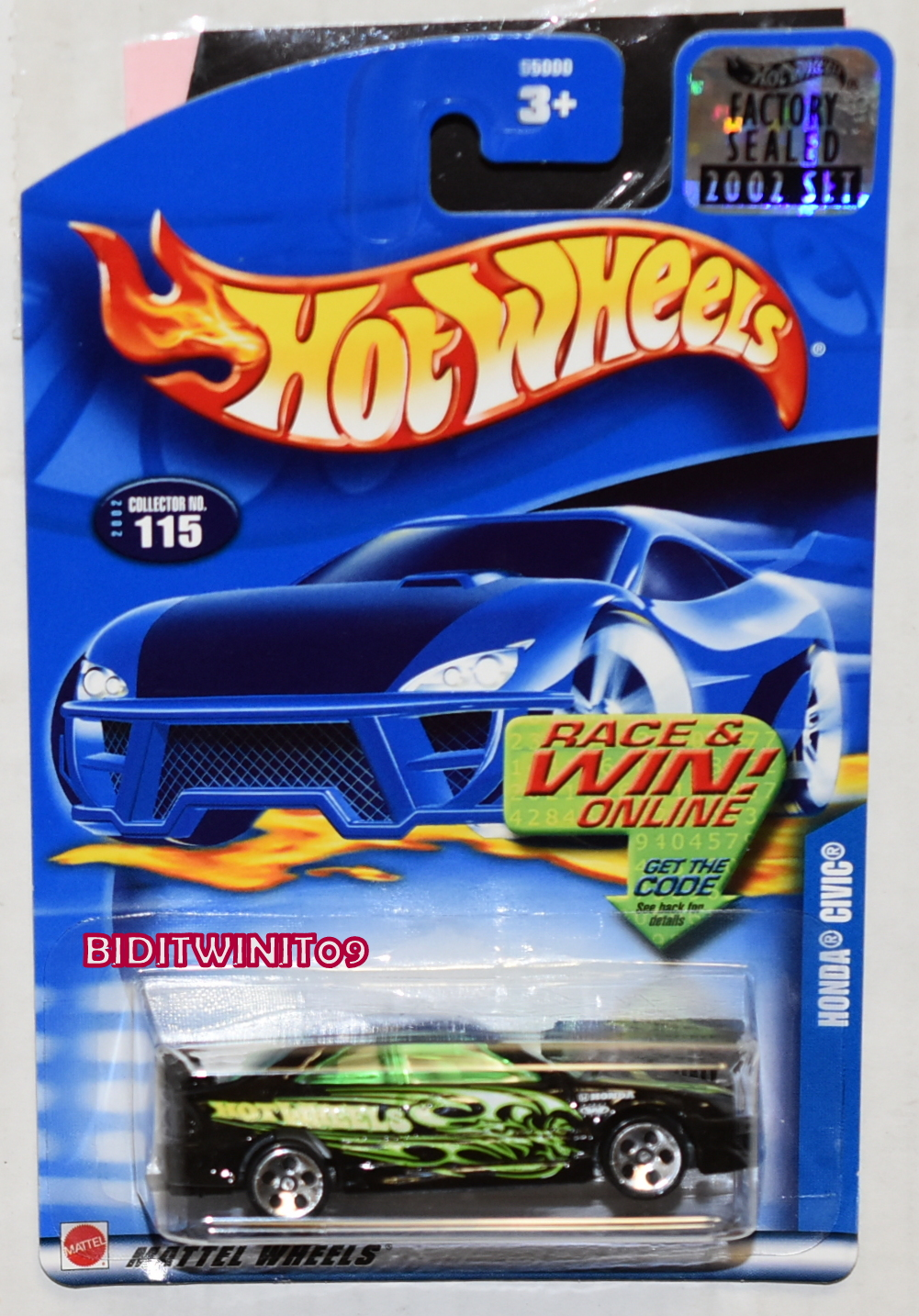 HOT WHEELS 2002 HONDA CIVIC #115 BLACK FACTORY SEALED