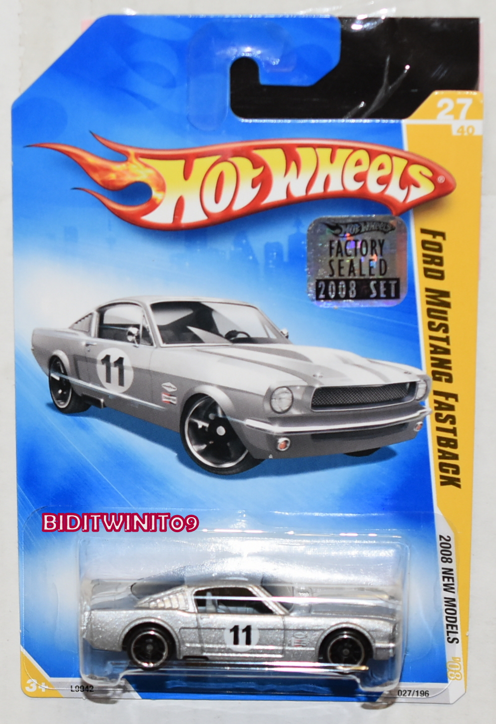 HOT WHEELS 2008 NEW MODELS FORD MUSTANG FASTBACK #27/40 SILVER FACTORY SEALED