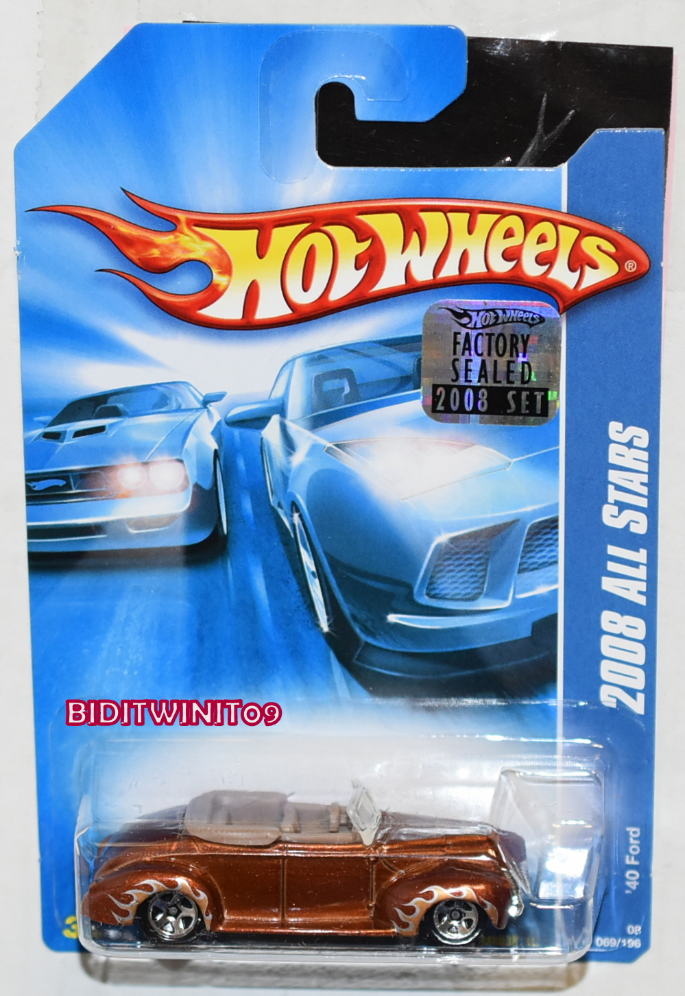 HOT WHEELS 2008 ALL STARS '40 FORD #069/196 BROWN FACTORY SEALED