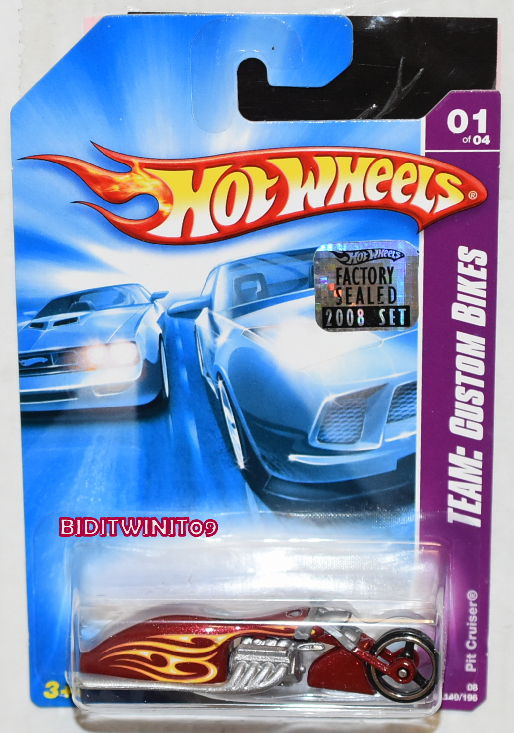 HOT WHEELS 2008 TEAM: CUSTOM BIKES PIT CRUISER RED FACTORY SEALED