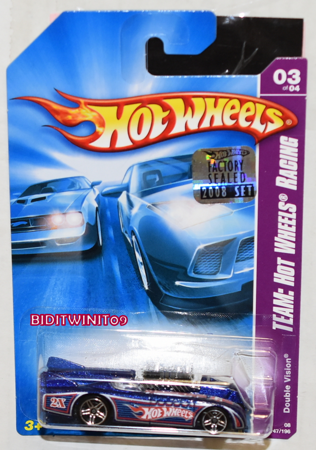 HOT WHEELS 2008 TEAM: HW RACING DOUBLE VISION BLUE FACTORY SEALED