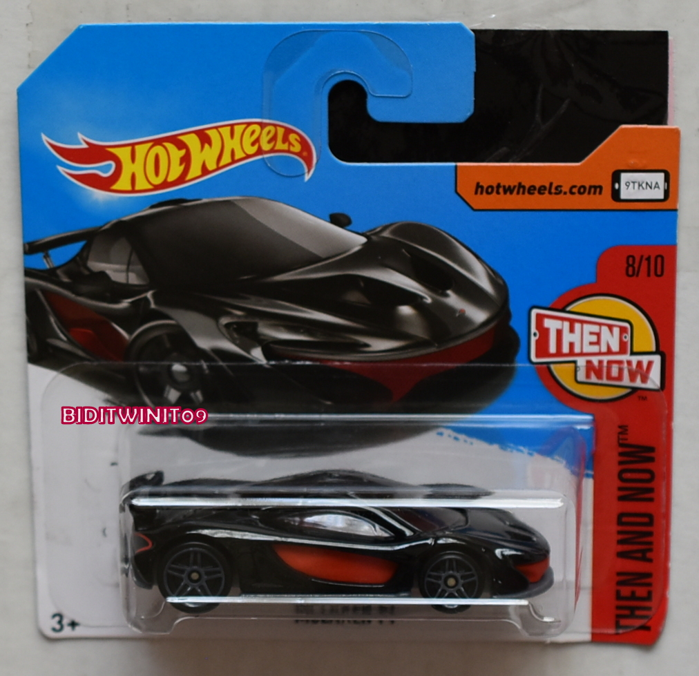 HOT WHEELS 2017 THEN AND NOW MCLAREN P1 #8/10 BLACK SHORT CARD