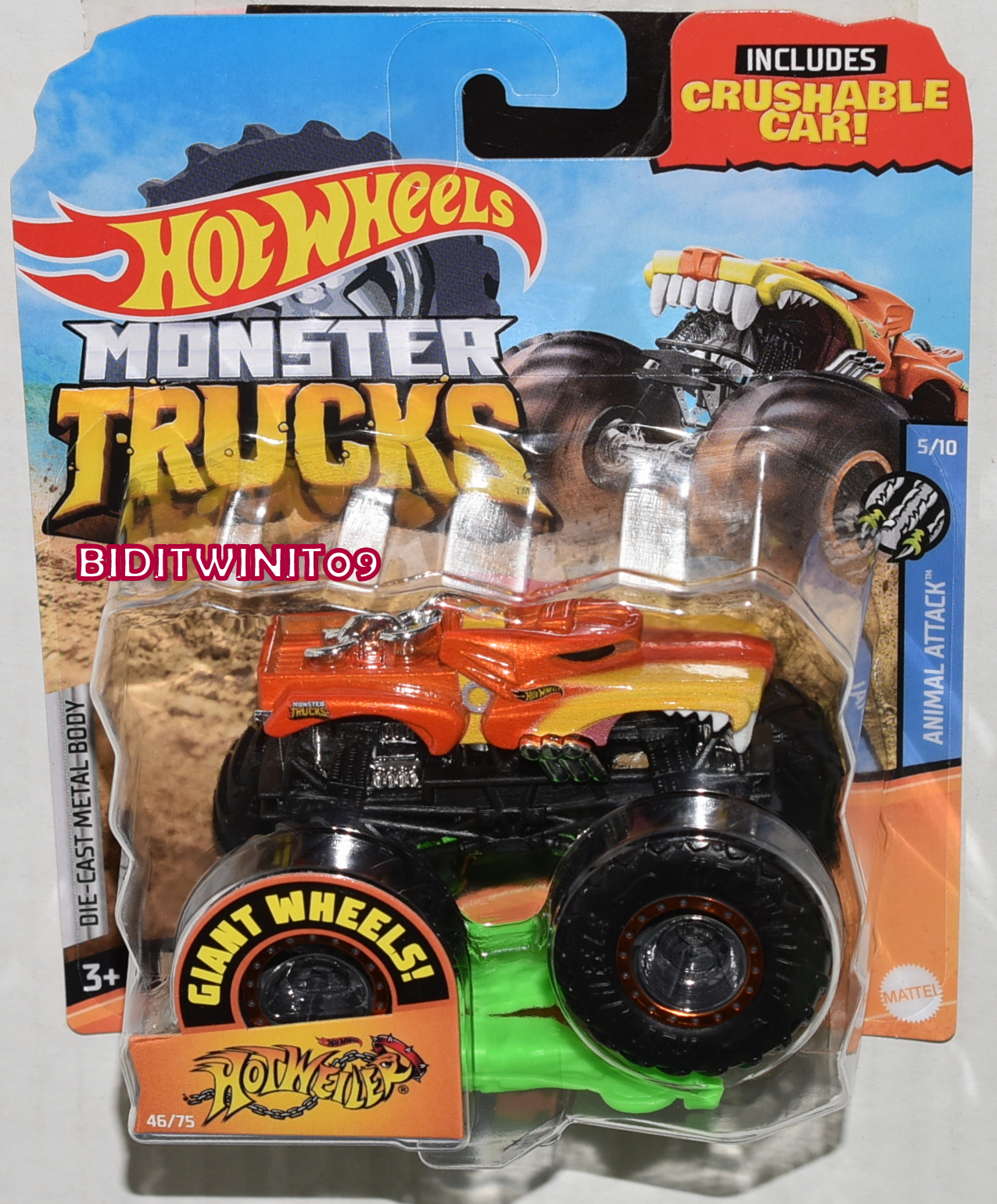 Hot Wheels 2020 Giant Wheels Monster Trucks Case G Hotweiler Animal Attack 0024500 5 53 Biditwinit09 Com Classic Colections