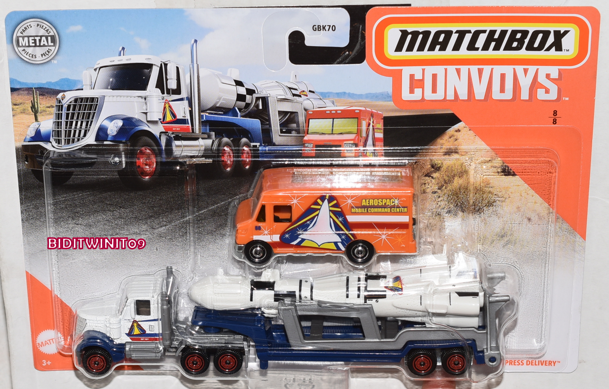 MATCHBOX CONVOYS LONESTAR CAB & ROCKET TRAILER W/EXPRESS DELIVERY CASE B
