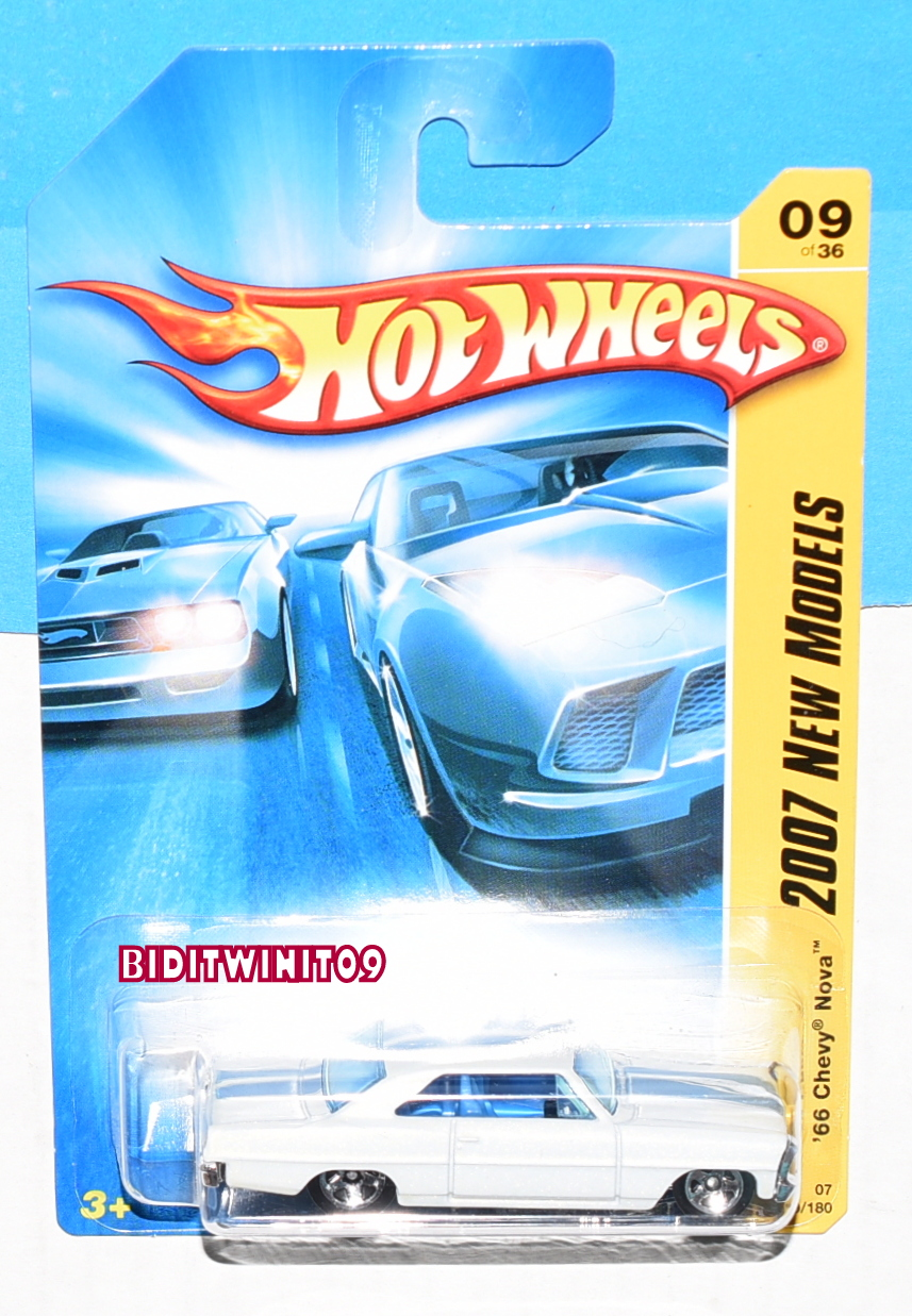 HOT WHEELS 2007 NEW MODELS '66 CHEVY NOVA #09/36 WHITE E+