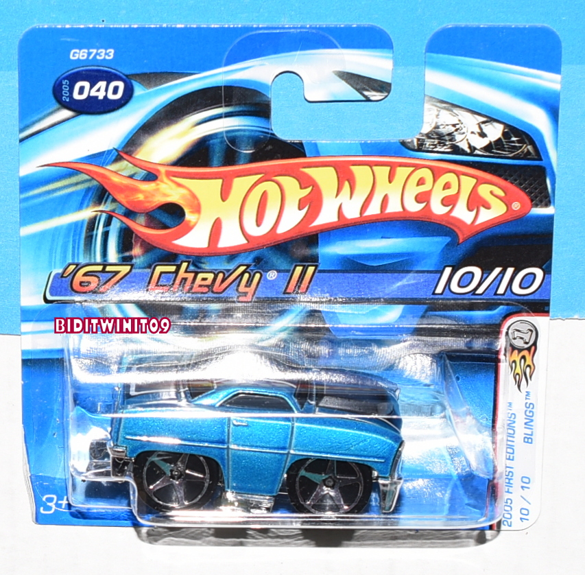 HOT WHEELS 2005 FIRST EDITIONS '67 CHEVY II #040 BLUE SHORT CARD E+
