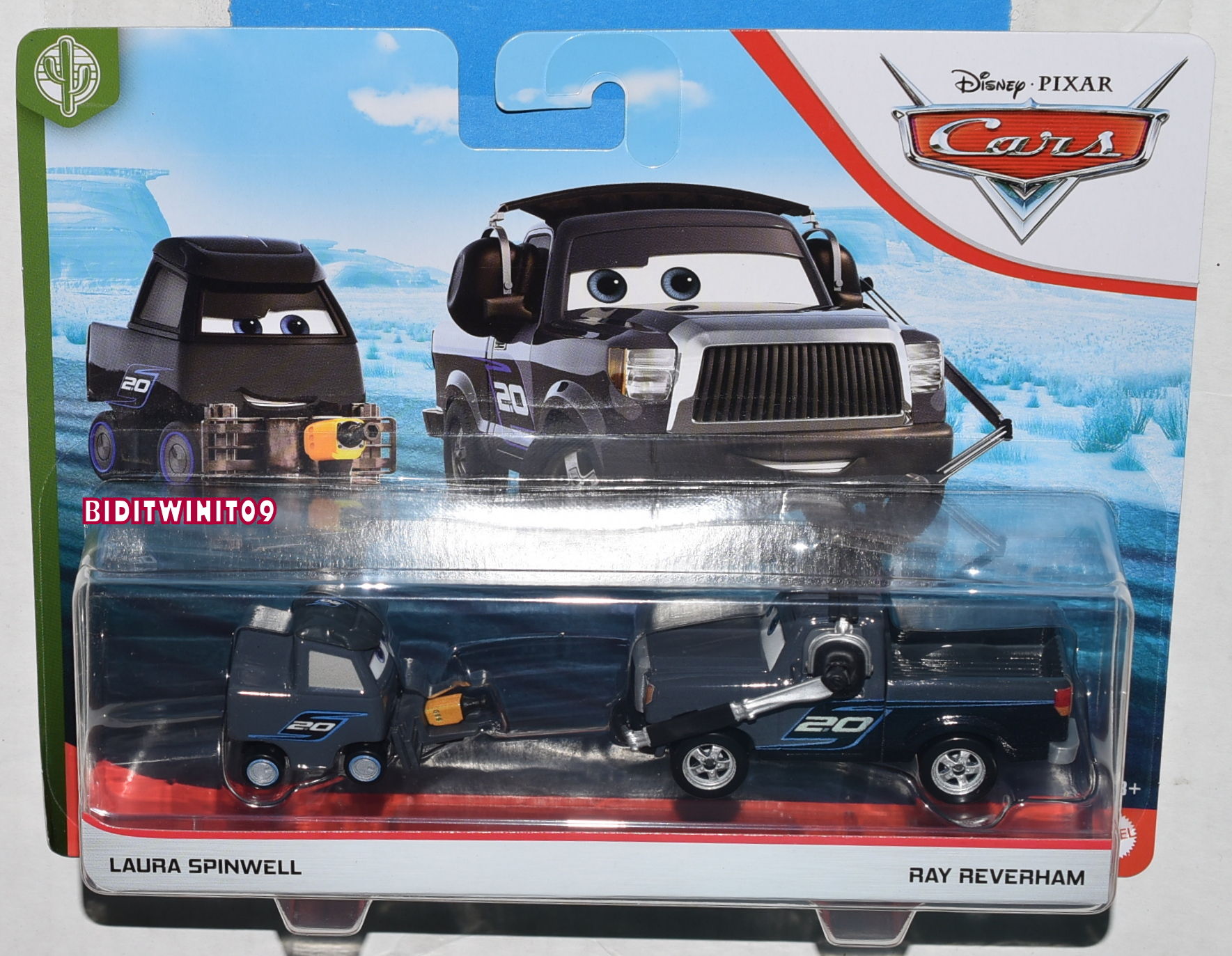 DISNEY PIXAR CARS LAURA SPINWELL - RAY REVERHAM 2 CAR PACK CASE T