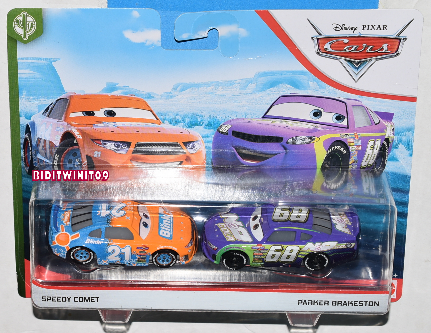 DISNEY PIXAR CARS SPEEDY COMET - PARKER BRAKESTON 2 CAR PACK CASE T E+