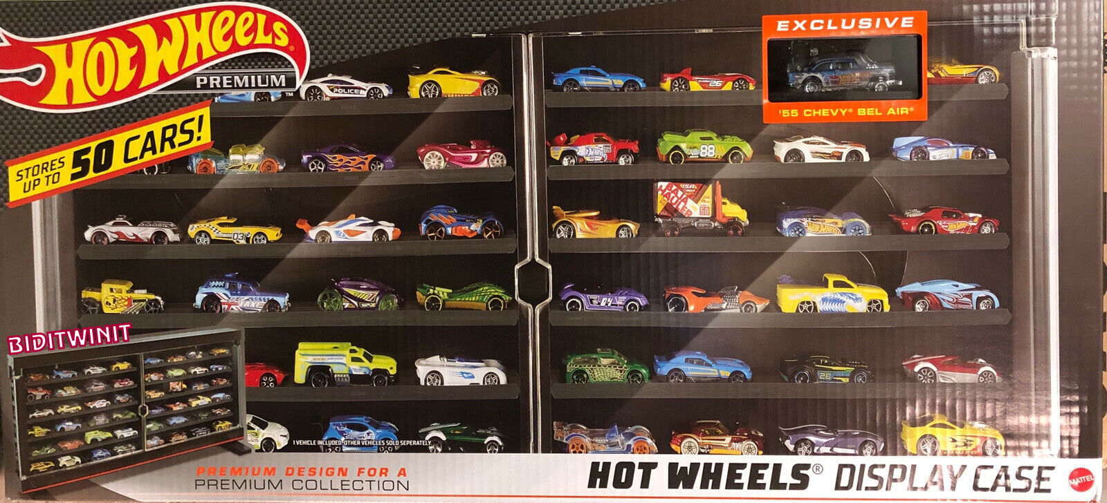 HOT WHEELS 2020 PREMIUM DISPLAY CASE 50 CARS EXCLUSIVE '55 CHEVY BEL AIR