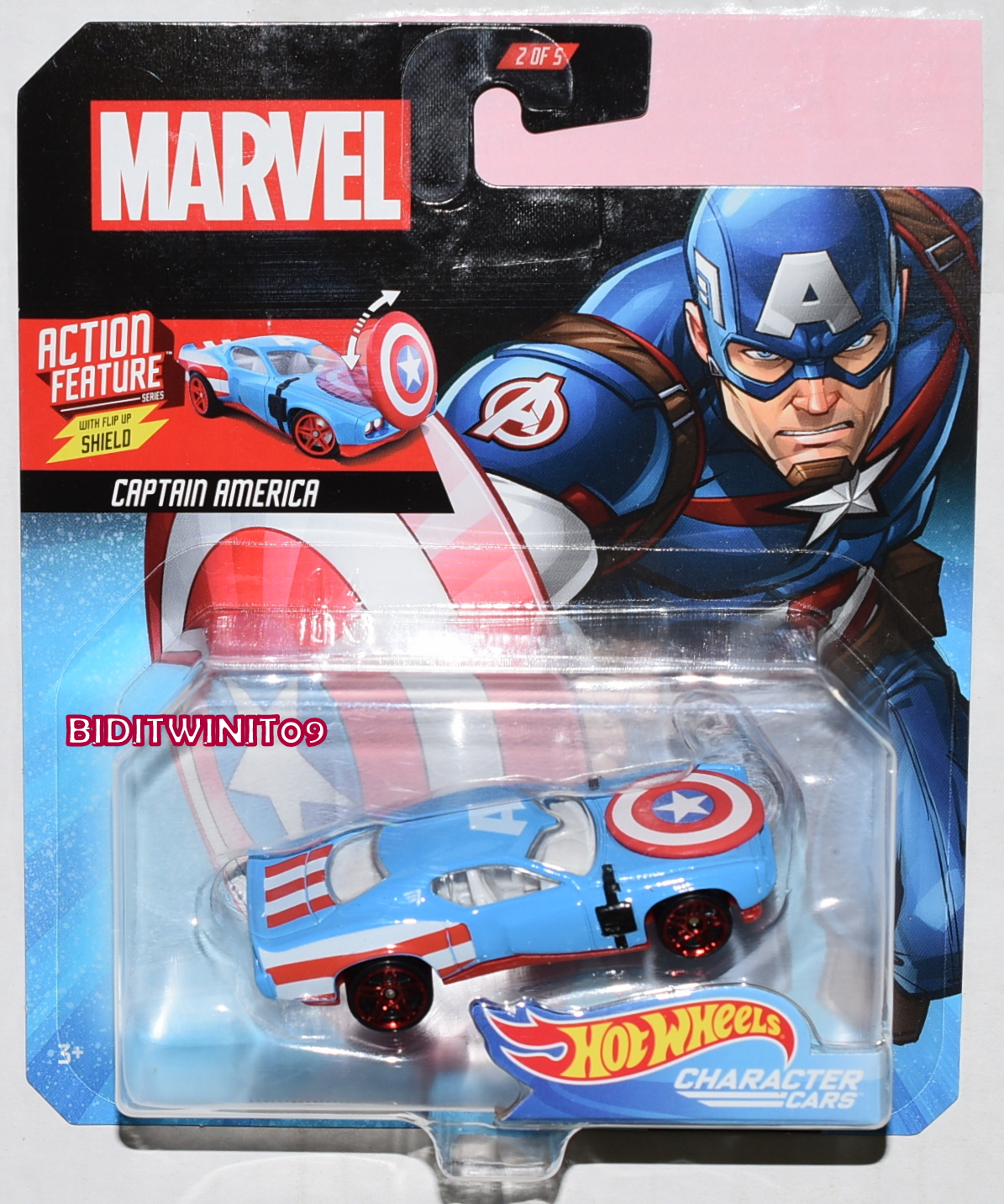 HOT WHEELS MARVEL CAPTAIN AMERICA W/ FLIP UP SHIELD CHARACTER CARS